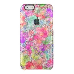 Bright Pink Red Watercolor Floral Drawing Sketch Clear iPhone 6/6S Case