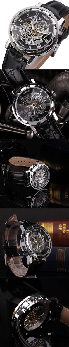 New Fashion Classic Men's Black Leather Dial Skeleton Mechanical Sport Army Wrist Watch Skeleton Watches Mens Watches Top Brand