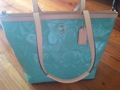 Pretty in Aqua! #coach, #purse @reviewsbyvicki