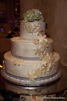 Winter Wonderland themed wedding cake made in-home at the Sterling Ballroom in the DoubleTree of Tinton Falls, NJ