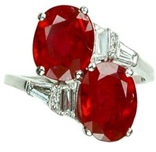 Burmese Ruby -Art Deco oval-cut ruby and diamond bypass ring (3.55ct / 3.17ct)