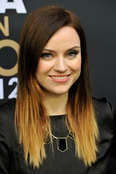 Color ideas for long hair: Amy MacDonald rocked trendy dip-dyed ombre tresses at the FIFA Ballon d'Or Gala 2012 in Zurich, Switzerland.