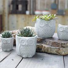 Aibei criativo coruja cimento jardim vasos de suculentas planta para decoração(China (Mainland))