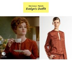 8f24279d8d27 On the blog - Evelyn Powell's (Rebecca Wisocky) burnt orange animal print  blouse