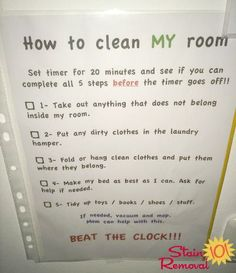 How to clean my room: Beat the clock! - submitted by a reader, Adamilka, with her personalized version of the bedroom cleaning checklist for her kids! {on Stain Removal 101}