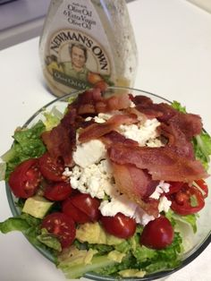 My Favorite Salad: Romaine Hearts, Avocado, Bacon, Feta Cheese and Grape Tomatoes with Paul Newman's Own Oil and Vinegar- YUM!