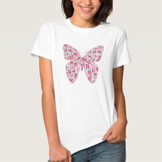 Applique fabric butterfly floral pink tees T Shirt, Hoodie Sweatshirt