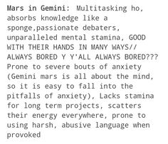Mars in Gemini. Yup! This is *so* true.