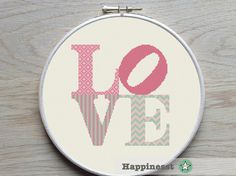 modern cross stitch pattern LOVE, LOVE sign pink, valentine, PDF ** instant download**