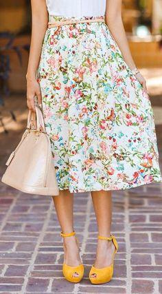 Colorful shoes #yellowshoes #yellow floral skirt, tea length, tan bag