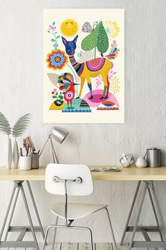 This folk art inspired decal by Oopsy Daisyu0026trade; is the perfect bohemian wall decor. This stickable posters can be stuck and re-stuck ... & Artfully Walls Otomi Blue Wall Art anda beautiful bar/side table ...