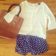 These polka dots go great with a soft, feminine shirt that has lace details.