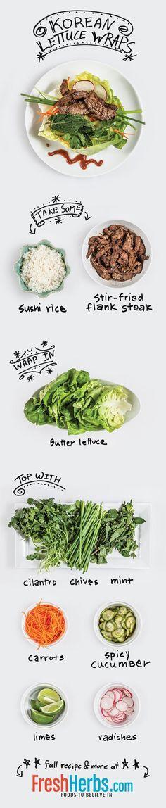 Korean Lettuce Wraps - a cool illustrated recipe