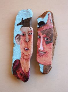 'People 2'. Acrylic and collage on cork oak driftwood from Spanish coast. Ginny Rose, 2015