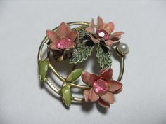 Pink rhinestone metal flower brooch circular by GingersLittleGems