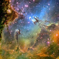 Center of Eagle Nebula. The Spire is on the bottim left and the famous Pillars of Creation are center right.