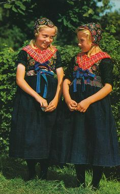 Portrait of two children wearing traditional clothes, Staphorst, Overijssel, The Netherlands, 1970 - 1980