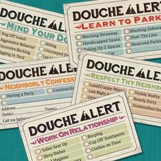 """Too many Douches to keep track of? Not to worry- we've got your back! With our """"Douche Alert Variety Pack"""" cards, you can send notes to all those douches with a card for every occasion! Novelty Items, Novelty Gifts, Gag Gifts, Funny Gifts, Office Warfare, Focus Boards, Space Car, Weird Inventions, Gifts For Teens"""