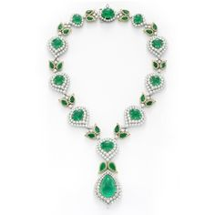 Emerald and diamond necklace with matching earrings, by David Webb, circa 1970
