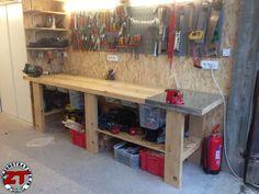 Fabrication d'un établi d'atelier. Plans disponibles sur @ZoneTravaux