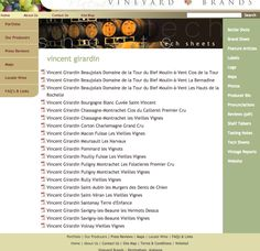 """You can get downloadable PDF Technical Information sheets on the wines of Vineyard Brands! Just choose the producer from the homepage, then use the right-hand menu to select """"tech sheets"""" - when the list pops up, click on the one you want to open the PDF file, then save to your computer!"""