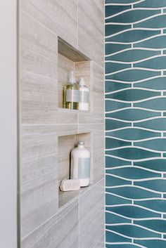 Fireclay Tile - Wave in Nautical - view the full remodel of this SF bathroom on MyManicuredLife.com