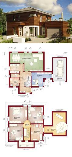 Stadtvilla Fassade Holz mit Zeltdach Architektur & Garage - Haus bauen Grundriss Einfamilienhaus Evolution 143 V12 Bien Zenker Fertighaus - HausbauDirekt.de