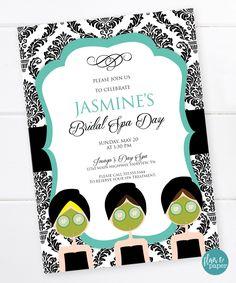 Bridal Shower Invitation, Spa Bridal Shower, Breakfast at Tiffany's, Spa Birthday, Damask Print, Teal and Black, DIGITAL FILE by FlairandPaper on Etsy