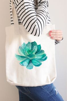 Bridesmaid Tote Bag Bridesmaid Gift Succulent by instanttrends