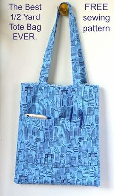 Bag Pattern Free, Bag Patterns To Sew, Tote Pattern, Sewing Patterns Free, Free Sewing, Sewing Tutorials, Sewing Crafts, Diy Tote Bag, Reusable Tote Bags