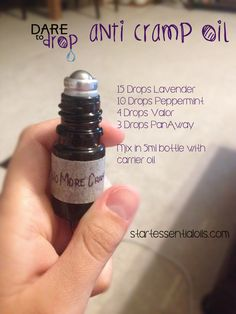 Anti Cramp Oil...Doterra users should use Deep Blue and Balance in place of Valor and Panaway
