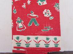 Vintage Mid Century Kitchen Towel - Vintage Dish Towel - Red White and Green - Dutch Design - Tulips - Windmills -
