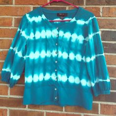 Style&Co. tie dye cardigan Really vibrant blue color! All buttons intact. 3/4 sleeves. 100% cotton. Style & Co Sweaters Cardigans