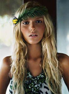 The beautiful Polish-born model Anja Rubik looks stunning in this flower child fashiontography.