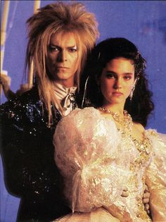 1986 - David Bowie as Jareth and Jennifer Connelly as Sarah in Labyrinth. David Bowie Labyrinth, Labyrinth Movie, Sarah Labyrinth, Goblin King, Jennifer Connelly, Labyrinth Goblins, Sarah And Jareth, Kubo And The Two Strings, Fraggle Rock