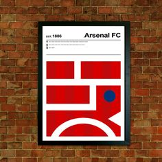 Arsenal FC Poster Print  This is a stylish modernist Arsenal FC poster print, fit to grace any man cave or childrens bedroom. With minimalist