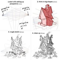 It's super fun to draw these little houses and … Drawing buildings mini tutorial. It's super fun to draw these little houses and drawing in these steps really helped me. Drawing Techniques, Drawing Tutorials, Drawing Tips, Art Tutorials, Drawing Drawing, Perspective Drawing Lessons, Perspective Art, Perspective Building Drawing, Art Sketches