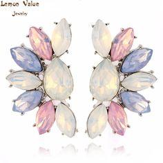 Lemon nilai baru pesona bijoux mode permen warna berlian imitasi anting trendy kristal stud earrings wanita brincos perhiasan h014