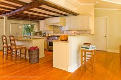 New Custom Kitchen. All The Original Post And Beam Framing Was Retained.  Design By