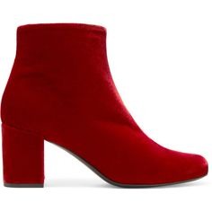 Saint Laurent Babies velvet ankle boots (€590) ❤ liked on Polyvore featuring shoes, boots, ankle booties, velvet boots, bootie boots, red high heel booties, block heel booties and red zipper boots