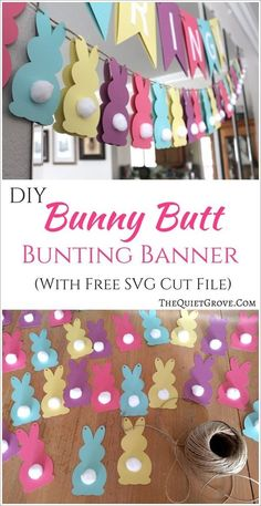 DIY Bunny Butt Easter Bunting Banner (+Free SVG Cut File) DIY Bunny Butt Easter Bunting Banner (+Free SVG Cut File) via Add a little fun and cuteness to your Easter Decorations with this easy to make Bunny Butt Bunting Banner! (With Free SVG cut file) Easter Crafts, Holiday Crafts, Bunny Crafts, Decoration Birthday, Diy Easter Decorations, Ostern Party, Easter Banner, Diy Easter Bunting, Diy Bunting Banner