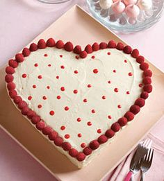 White Chocolate Sweetheart Cake for Valentines Day.