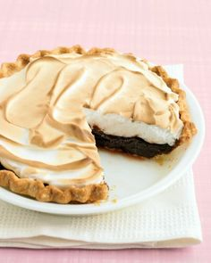 A layer of rich chocolate pudding is topped with fluffy meringue in this pie that will be a welcome addition to the Thanksgiving dessert assortment. Feel free to save time by using purchased pie crust.