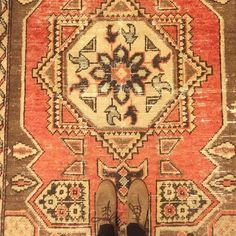 """This faded and fabulous 6'4""""X 3'11"""" vintage Turkish like pile rug can work its magic by warming up any modern space! www.rugandweave.com"""