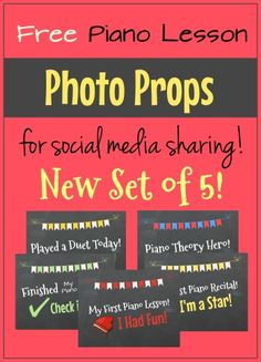 Piano lesson photo props - give these to your piano student, snap a picture and share on social media to increase your likes and shares! FREE set of 5 by clicking the image above.