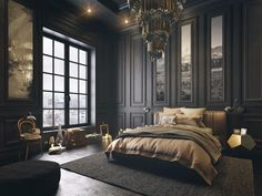 Dark bedroom themes help to center the mind, creating an atmosphere of relaxatio. Dark bedroom the Bedroom Black, Baroque Bedroom, Bedroom Decor Dark, Decor Room, Charcoal Bedroom, Asian Bedroom Decor, French Bedroom Decor, Country Bedroom Design, Dark Wood Bedroom