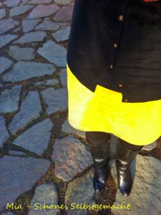 RUMS - 5-Minuten-Rock gelb - Mia Schönes Selbstgemacht Rum, Knee Boots, Shoes, Fashion, Carnavals, Yellow, Homemade, Nice Asses, Moda