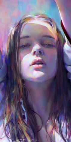 "spectrum of colors Figure"" - Yanjun Cheng, 2015 {figurative art female head woman face portrait cropped digital painting detail Figurative Kunst, Face Illustration, Portrait Illustration, Digital Illustration, Portrait Art, Portrait Ideas, Woman Portrait, Portrait Paintings, Woman Face"
