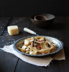 Mushroom Pappardelle Pasta with a Goat Cheese Cream Sauce | The Flourishing Foodie