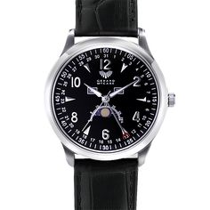 The Lunar watch is a stylish timepiece packed with features. This watch features a moon phase, month, day and date display and is water resistant to 3 atmospheres. Available in 4 colour combinations with a classic leather strap. This watch is backed by the Gerard McCabe 3 year warranty.